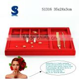 Rich Look Stackable Red Color Velvet Jewelry Display Tray Storage Case S1316