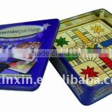 wooden board with tin box ,personality packing for wooden board with BSCI,n in 1 multi games box