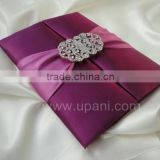Purple Silk Wedding Invitation with embellishment