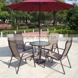 All Weather Proof Coffee Brown 5 piece Outdoor Garden Balcony Aluminum Sling Patio Furniture Round Glass Dining Table Chair Set