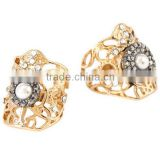 Pearl Stud Hollow Rhinestone Filigree Ring Set
