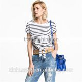 Alibaba China Girl Apparel Printed Classic T Shirts Stripe T Shirt Lady                                                                         Quality Choice