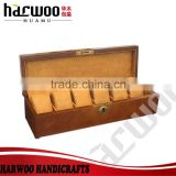 Six slot brown color wooden watch box,wooden watch packaging box,custom watch packaging box with lock