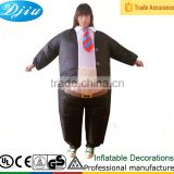 DJ-CO-113 Adult Business Suit part black Inflatable Blow Up Full Body Costume Jumpsuit
