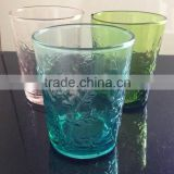 drinking glass cup with flower design glass cup printing machine glass cup holder