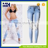 Super-elastic in Europe and the Russian hole hollow lace ladies jeans trousers