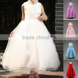 Girl's Kids Satin/Organza Layered Pageant Sleeveless Summer Dress With Belt OEM ODM Type Clothes Manufacturer Factory Guangzhou