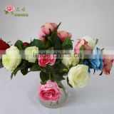 2 heads plastic resin flower rose with glass vase with short stem