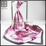 2016 Fashion Pink Printed Bandanna twill square 100% Silk scarf