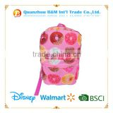 2015 Fashion satin Backpacks with donut printing for Student Girl Travel Bag Mochila Patchwork Cute Brand