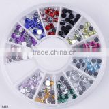 12colors Fashion Round Acrylic Crystal Nail Art Polish Tips Pedicure Decor box