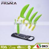 KC1308 New Design zirconia blade rubberized ABS handle 6PCS ceramic knife set with acrylic stand