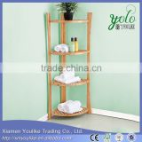 New design bathroom 4-tier Bamboo and wooden Corner shelf                                                                         Quality Choice