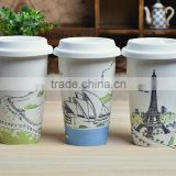wholesale ceramic coffee mug double wall travel mug with silicone lid
