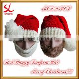 Fashion Christmas Santa Knit Hat Handmade Crochet LED Ski Warmer Cap with Breathable Face Mask