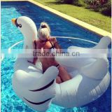 2016 newest White Summer Lake Swimming Water Pool Kids Rideable Swan Inflatable Float Toy