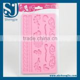 Trade assurance Hot selling chantilly lace large mat cake decorating silicone mold cake lace mat