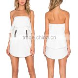 Latest design fashion white scalloped lady babydoll pocket strapless dress