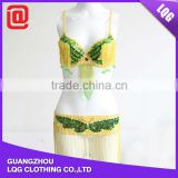 High quality handmade bling yellow green bra & butterfly hip belt beaded belly dance wear
