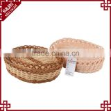 Hot sale plastic woven rattan basket food bread snack display stands popcorn box