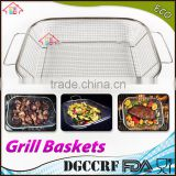 NBRSC BBQ Vegetable Stainless Steel Non-Stick Grill Basket Outdoor Cooking Grilling