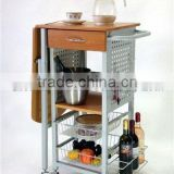 Wooden kitchen dining wine trolley cart, folding storage rack with wheels