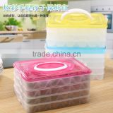 L00005 Reusable Stackable Compartment Dumpling Food Containers/Storage Organizer/Box/Bins/Holder with Lids - Leak Proof, Freezer