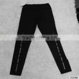 Anti-Wrinkle Superfine White Printed Black Sport Unisex Long Johns