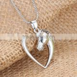 Horse Necklace Women Jewellery Mother Child Love Heart Pendant Necklace for Birthday Gifts