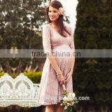 Latest design maternity dress pregnant women half sleeve lace party dress