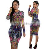 Walson F20328A African fashion women bodycon dress ethnic style printing long sleeve african dress for women