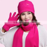 Made in China 100D 144F super soft and warm Polar Fleece 3 Piece Hat Scarf & Glove Set