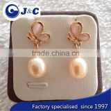 fashion real nature white pearl earring,pearl eardrop,black ear nail,black ear nail