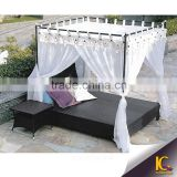 Outdoor furniture rattan garden daybed sun lounger beach daybed with canopy                                                                         Quality Choice