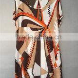 100% Silk CDC Italian print design A Line Tunic Casual Dress
