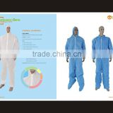 Disposable workwear Protective safety Coverall PP SMS coverall with hood elastic wrist waist