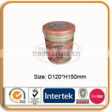 Round tin can for cookie, biscuit, coffee, tea, gift
