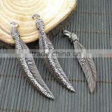 LFD-0016P ~ Druzy OX Bone Carved Leaf Feather Shape Pave Rhinestone Pendants For Necklace Jewelry Finding in Black
