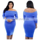 F20040A Fashionable dress plus size women clothing dress for fat women off shoulder tight evening dress                                                                         Quality Choice