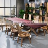 New design dining room sets novel wooden chair durable wooden table top with stainless steel