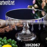 Wholesale wedding cake stand with hanging crystals;elegant table shape crystal cake stand for wedding decoration&party(MH-2067)