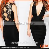 Western Latest fashion designer summer lace black sleeveless sexy ladies dress for ladies