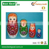 Bestgoal High-quality set of 4 wooden russian souvenirs matryoshka dolls wooden nesting dolls