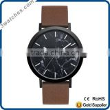 Hot sale luxury charm black&brown woman stainless steel watch original Japan movement genuine leather strap marble dial watch