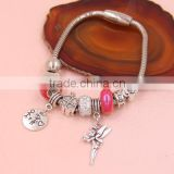 Charm Custom Bracelet different colors glass beads angel and heart Charm Valentine Gifts