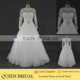 New Arrive Long Sleeve Open Back Appliqued Lace Sequined Waist Pakistani Wedding Dresses