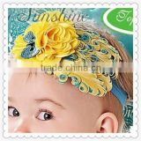 Most popular baby girls hair bow,beautiful kids hair band,pretty girls feather headband hair bow
