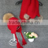 Raccoon Fur Bobble Kids Scarf Wool Knitted Long Winter Baby Scarves With Detachable Raccoon Fur Pom Poms