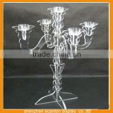 Acrylic tall floor standing 5 arm candelabra for wedding