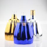 Exported glass bottle manufacturer 1 liter blue electroplating 1 liter bottle rectangular glass bottle
